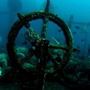Boga Wreck steering wheel in Tulamben, Bali thumbnail