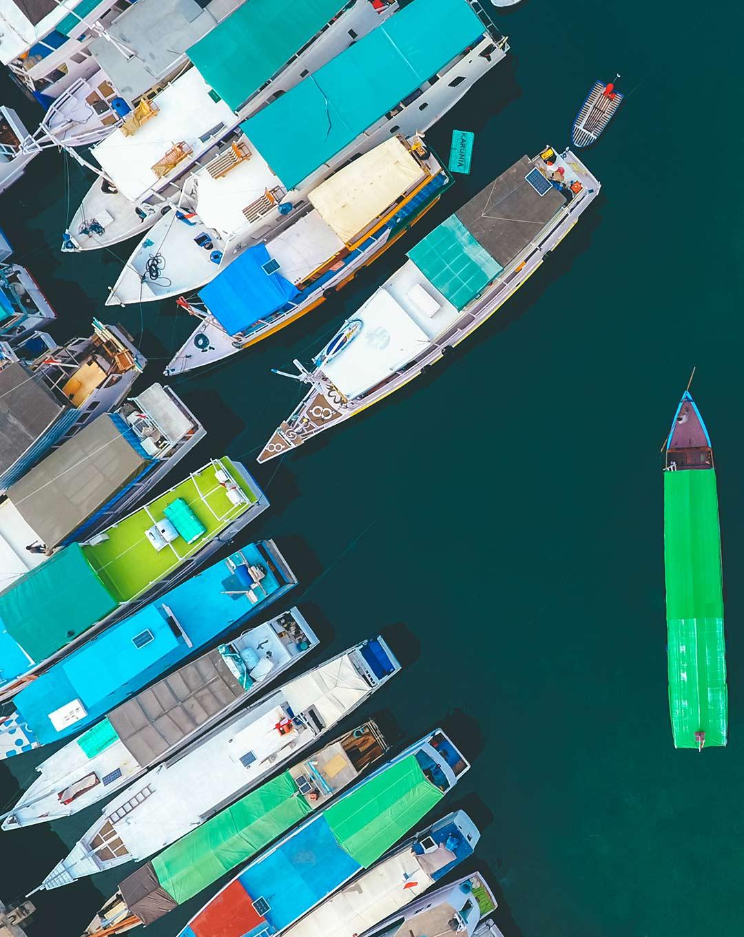 Aerial view of Labuan Bajo Marina