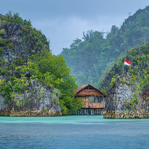 Bamboo Hut between Karst Islands in Pianemo