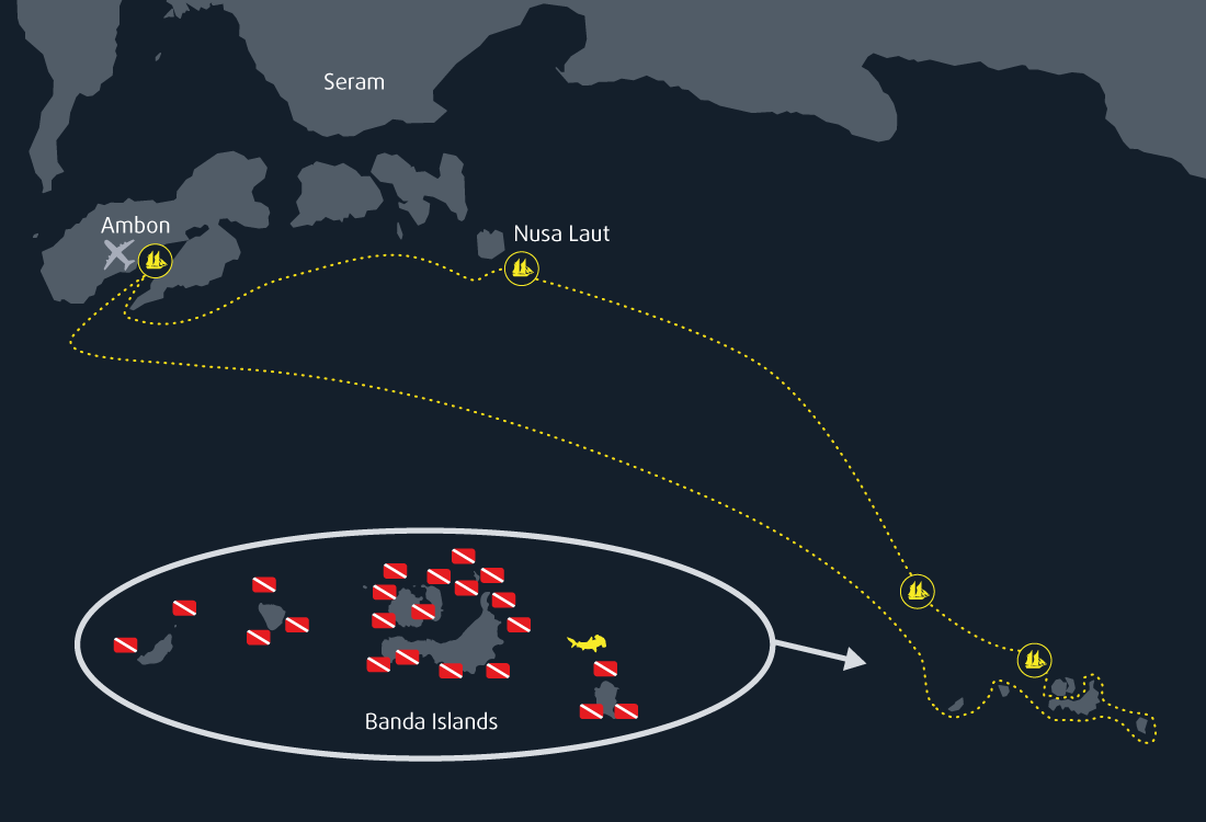 Banda Sea Cruise map 8 days 7 nights