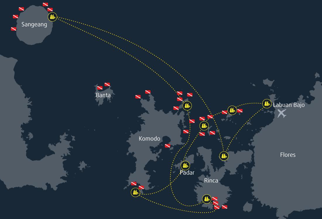 10 Days 9 Nights Cruise Map Komodo