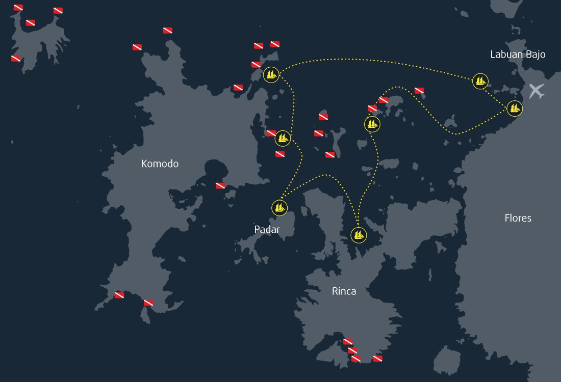 7 Days 6 Nights Cruise Map Komodo