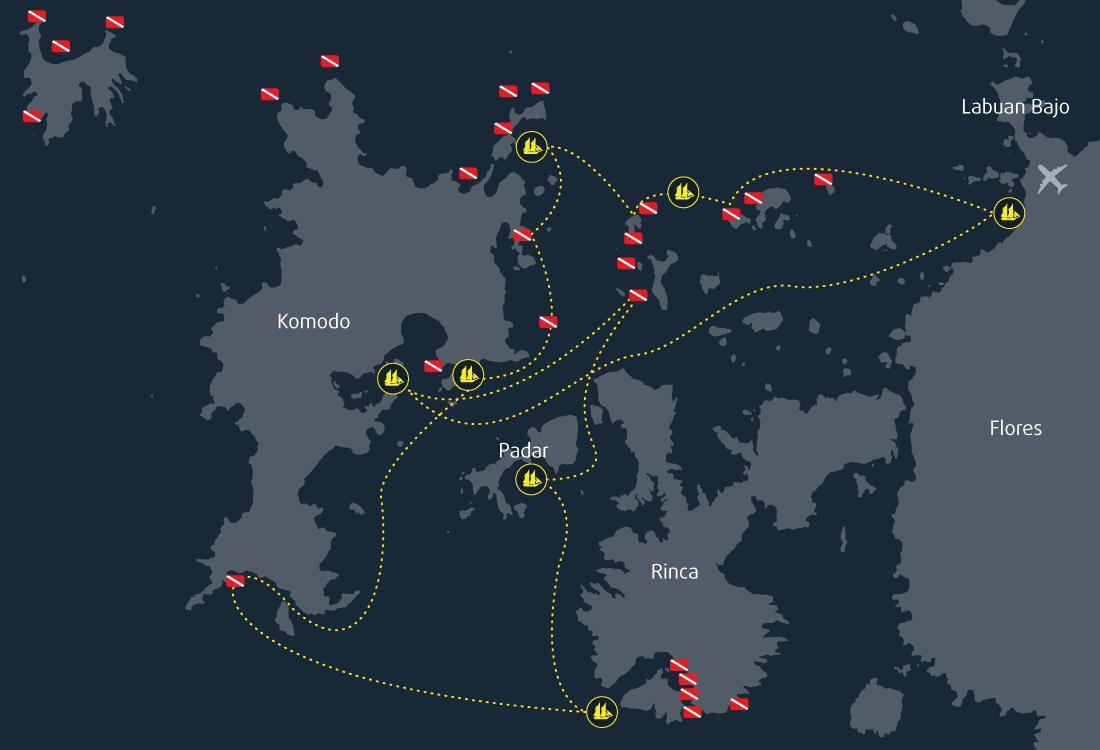 Map Cruise Komodo 8 Days 7 Nights