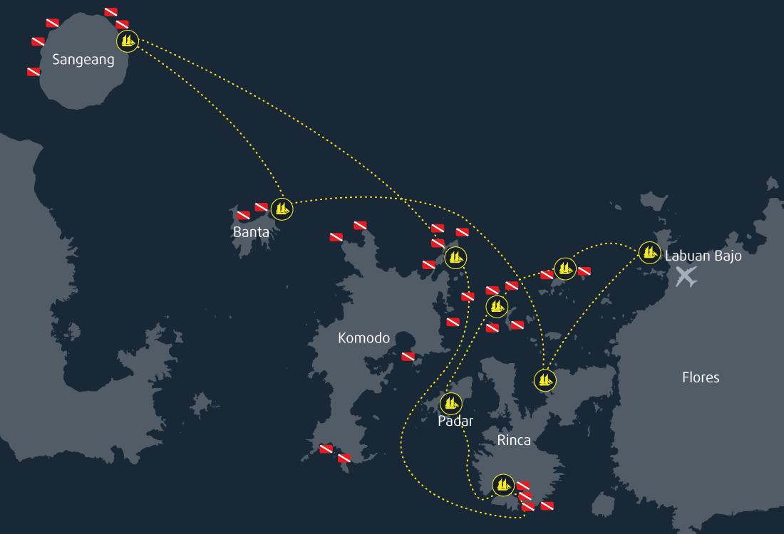 9 Days 8 Nights Cruise Map Komodo