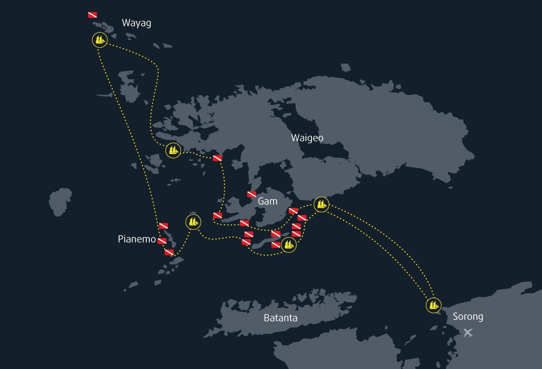Map Cruise Raja Ampat 8 Days 7 Nights