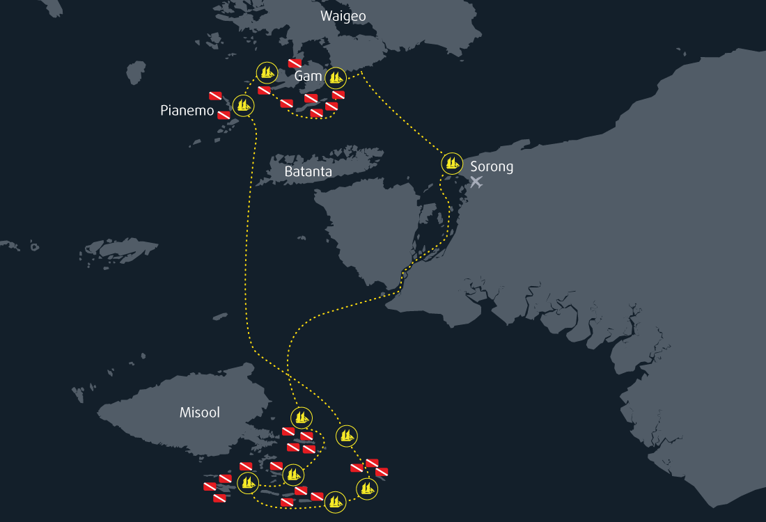 Map Cruise Raja Ampat Misool 12 Days 11 Nights
