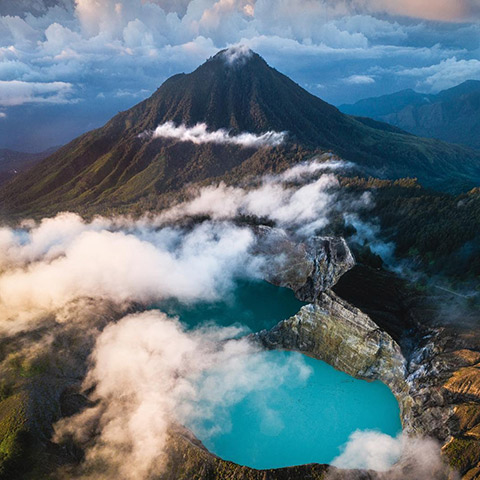 Mount Kelimutu From the Sky